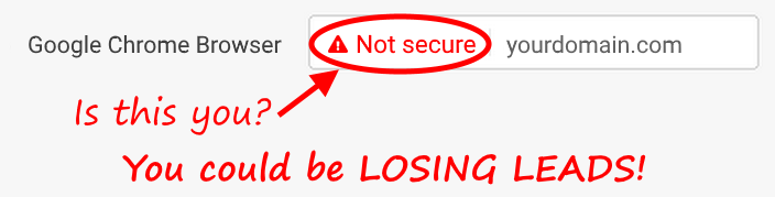 "Google Chrome Browser might be showing ""Not secure"" on your website."